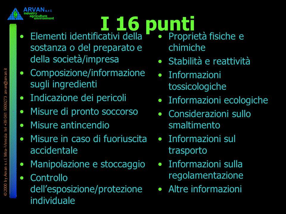 © 2000 by Arvan s.r.l. Mira–Venezia tel +39 041 5609273 arvan@arvan.it I 16 punti Elementi identificativi della sostanza o del preparato e della socie