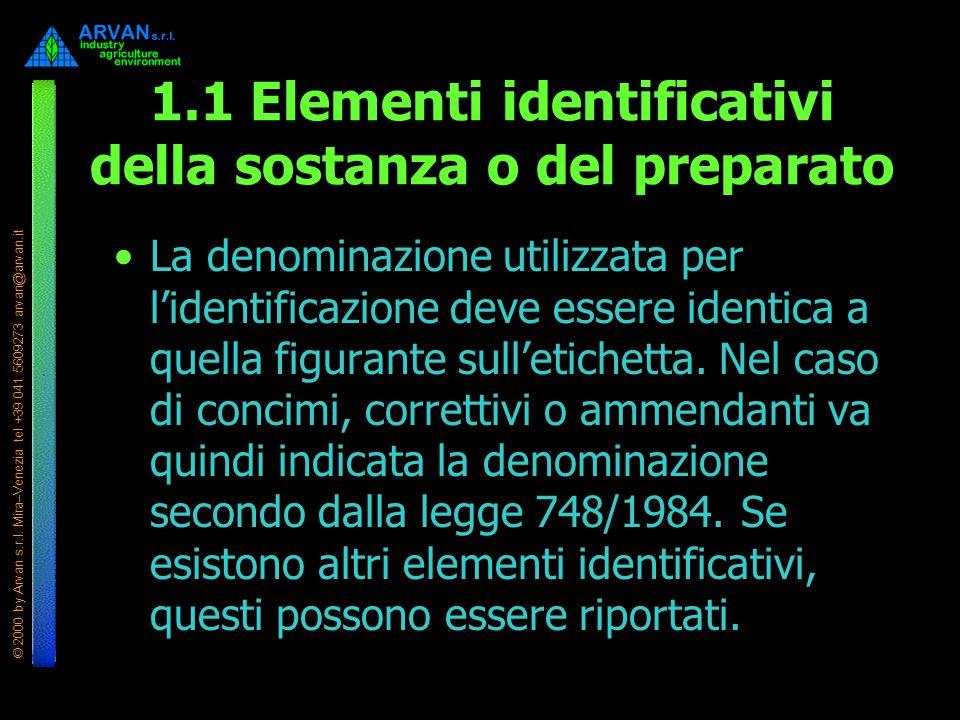 © 2000 by Arvan s.r.l. Mira–Venezia tel +39 041 5609273 arvan@arvan.it 1.1 Elementi identificativi della sostanza o del preparato La denominazione uti