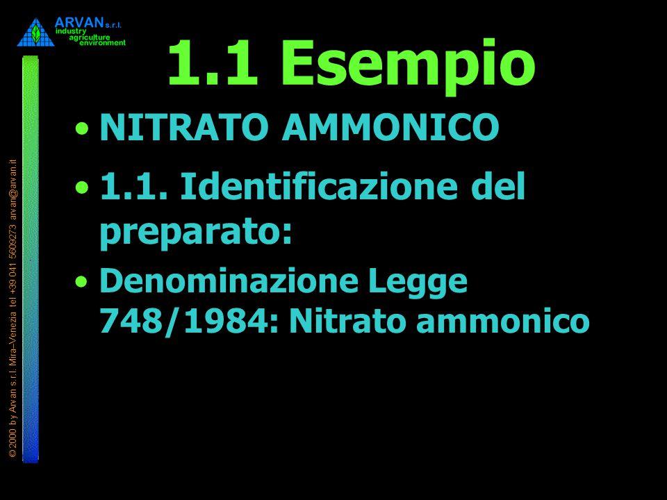 © 2000 by Arvan s.r.l. Mira–Venezia tel +39 041 5609273 arvan@arvan.it 1.1 Esempio NITRATO AMMONICO 1.1. Identificazione del preparato: Denominazione