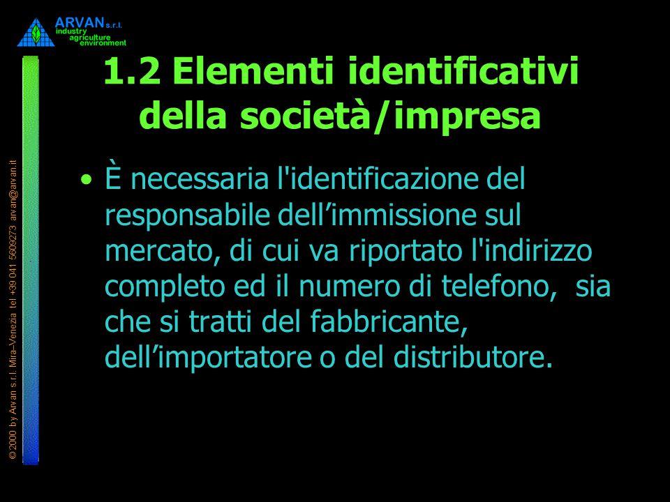 © 2000 by Arvan s.r.l. Mira–Venezia tel +39 041 5609273 arvan@arvan.it 1.2 Elementi identificativi della società/impresa È necessaria l'identificazion