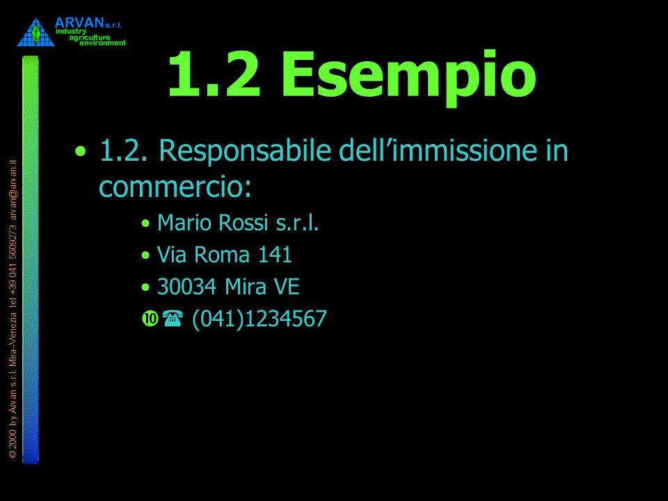 © 2000 by Arvan s.r.l. Mira–Venezia tel +39 041 5609273 arvan@arvan.it 1.2 Esempio 1.2. Responsabile dell'immissione in commercio: Mario Rossi s.r.l.