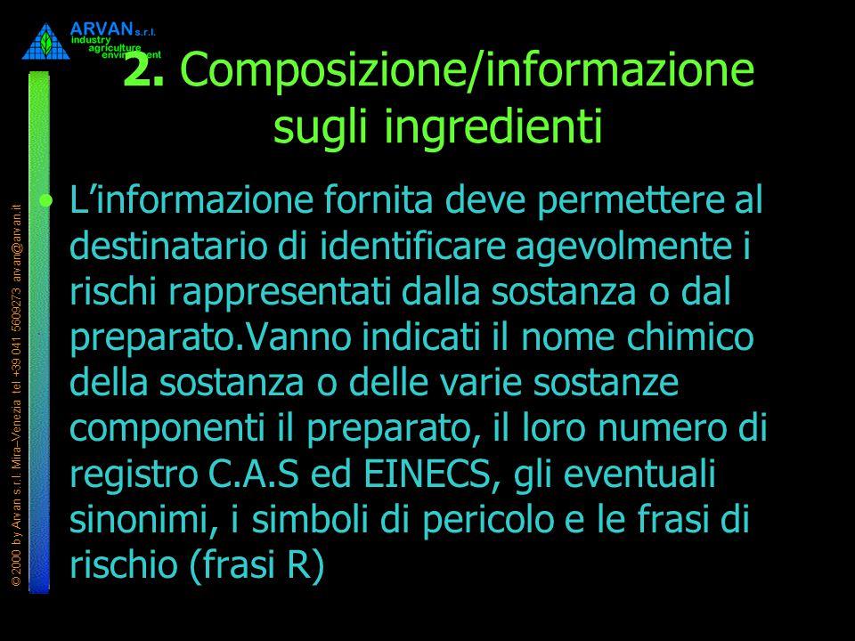 © 2000 by Arvan s.r.l. Mira–Venezia tel +39 041 5609273 arvan@arvan.it 2. Composizione/informazione sugli ingredienti L'informazione fornita deve perm