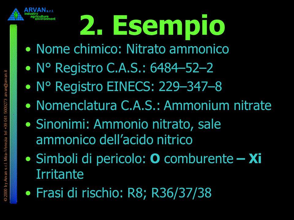 © 2000 by Arvan s.r.l. Mira–Venezia tel +39 041 5609273 arvan@arvan.it 2. Esempio Nome chimico: Nitrato ammonico N° Registro C.A.S.: 6484–52–2 N° Regi