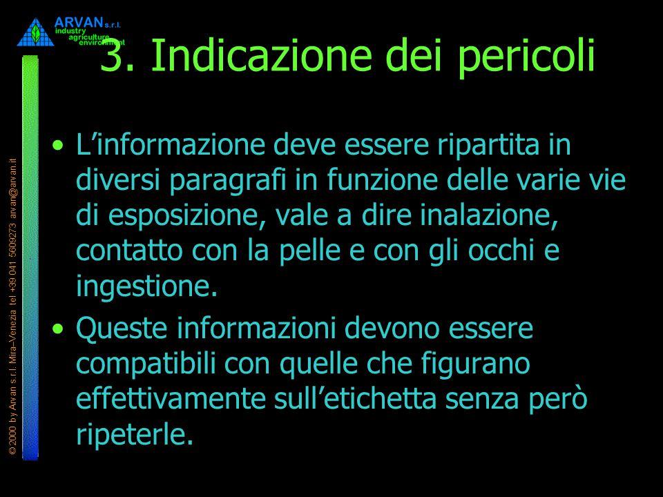 © 2000 by Arvan s.r.l. Mira–Venezia tel +39 041 5609273 arvan@arvan.it 3. Indicazione dei pericoli L'informazione deve essere ripartita in diversi par
