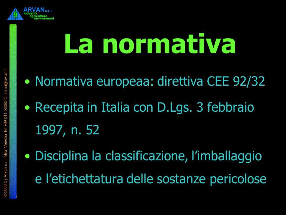 © 2000 by Arvan s.r.l. Mira–Venezia tel +39 041 5609273 arvan@arvan.it La normativa Normativa europeaa: direttiva CEE 92/32 Recepita in Italia con D.L