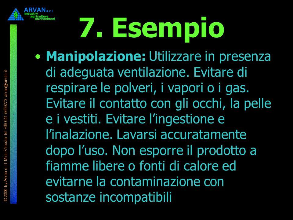 © 2000 by Arvan s.r.l. Mira–Venezia tel +39 041 5609273 arvan@arvan.it 7. Esempio Manipolazione: Utilizzare in presenza di adeguata ventilazione. Evit