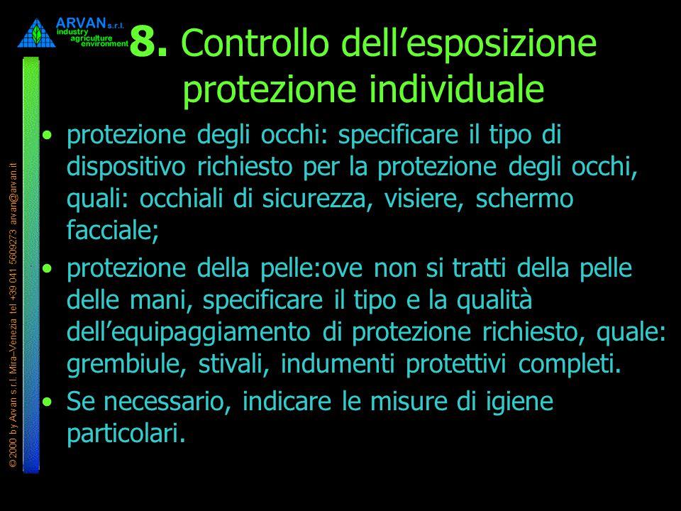 © 2000 by Arvan s.r.l. Mira–Venezia tel +39 041 5609273 arvan@arvan.it 8. Controllo dell'esposizione protezione individuale protezione degli occhi: sp