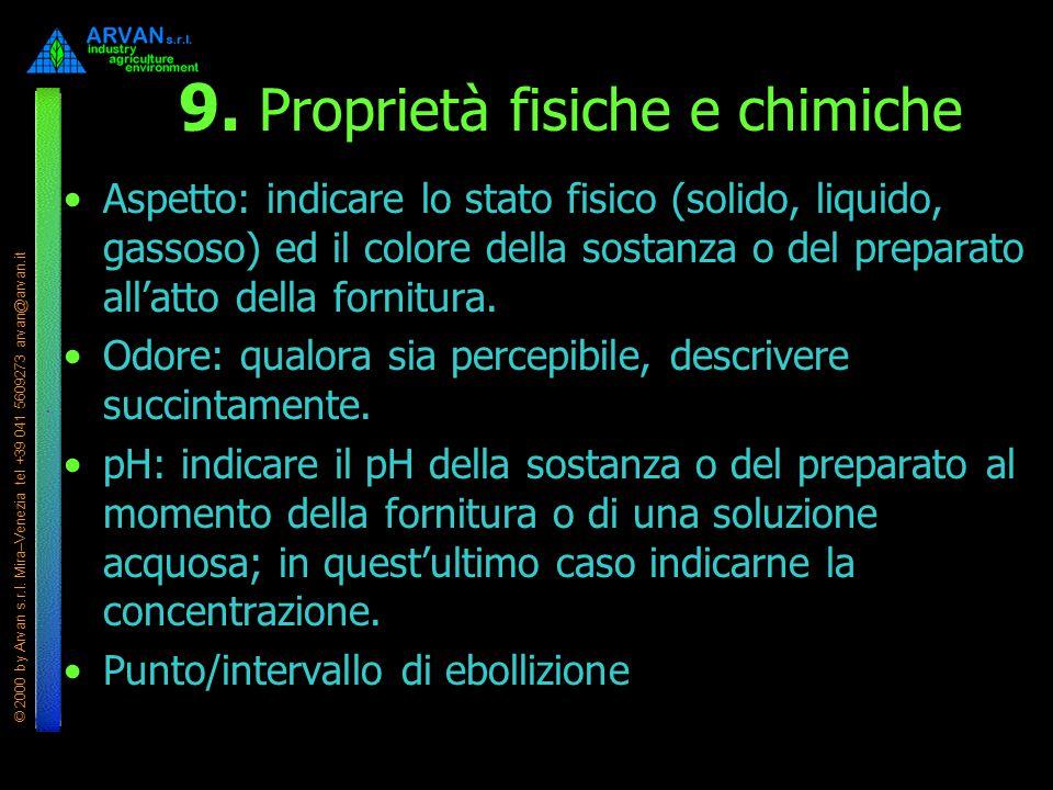© 2000 by Arvan s.r.l. Mira–Venezia tel +39 041 5609273 arvan@arvan.it 9. Proprietà fisiche e chimiche Aspetto: indicare lo stato fisico (solido, liqu