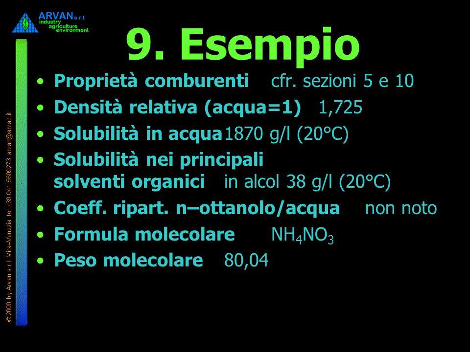 © 2000 by Arvan s.r.l. Mira–Venezia tel +39 041 5609273 arvan@arvan.it 9. Esempio Proprietà comburenticfr. sezioni 5 e 10 Densità relativa (acqua=1)1,