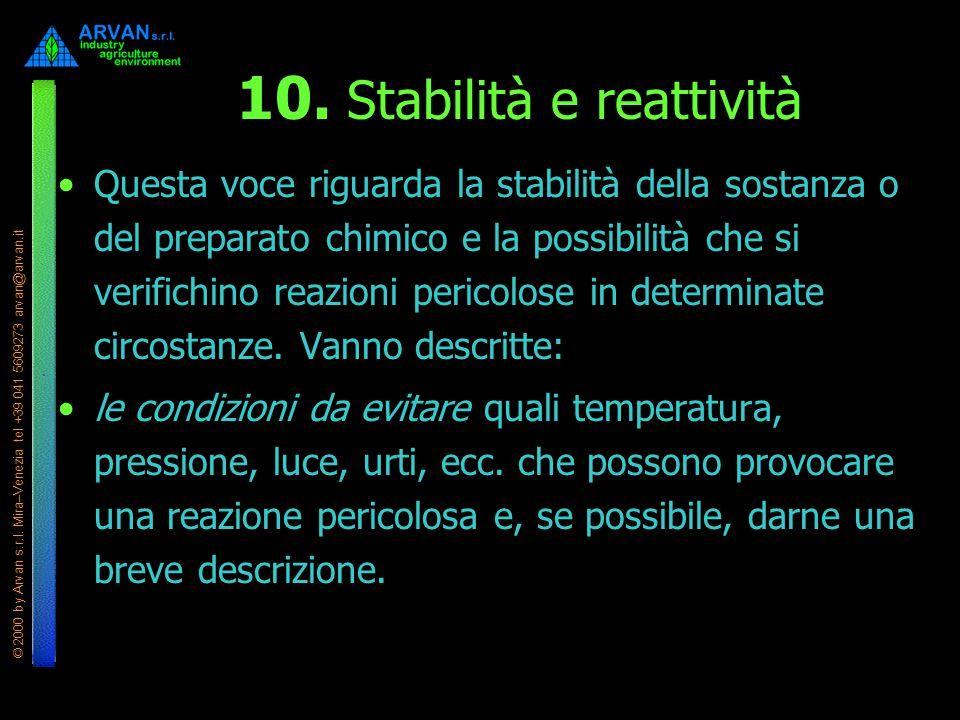 © 2000 by Arvan s.r.l. Mira–Venezia tel +39 041 5609273 arvan@arvan.it 10. Stabilità e reattività Questa voce riguarda la stabilità della sostanza o d