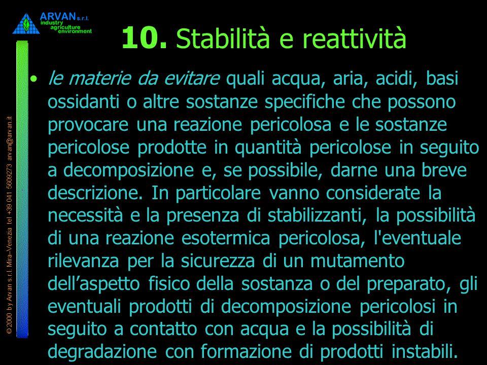 © 2000 by Arvan s.r.l. Mira–Venezia tel +39 041 5609273 arvan@arvan.it 10. Stabilità e reattività le materie da evitare quali acqua, aria, acidi, basi