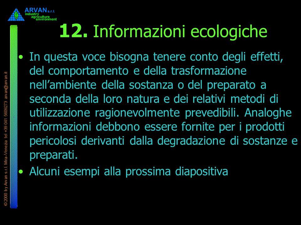 © 2000 by Arvan s.r.l. Mira–Venezia tel +39 041 5609273 arvan@arvan.it 12. Informazioni ecologiche In questa voce bisogna tenere conto degli effetti,