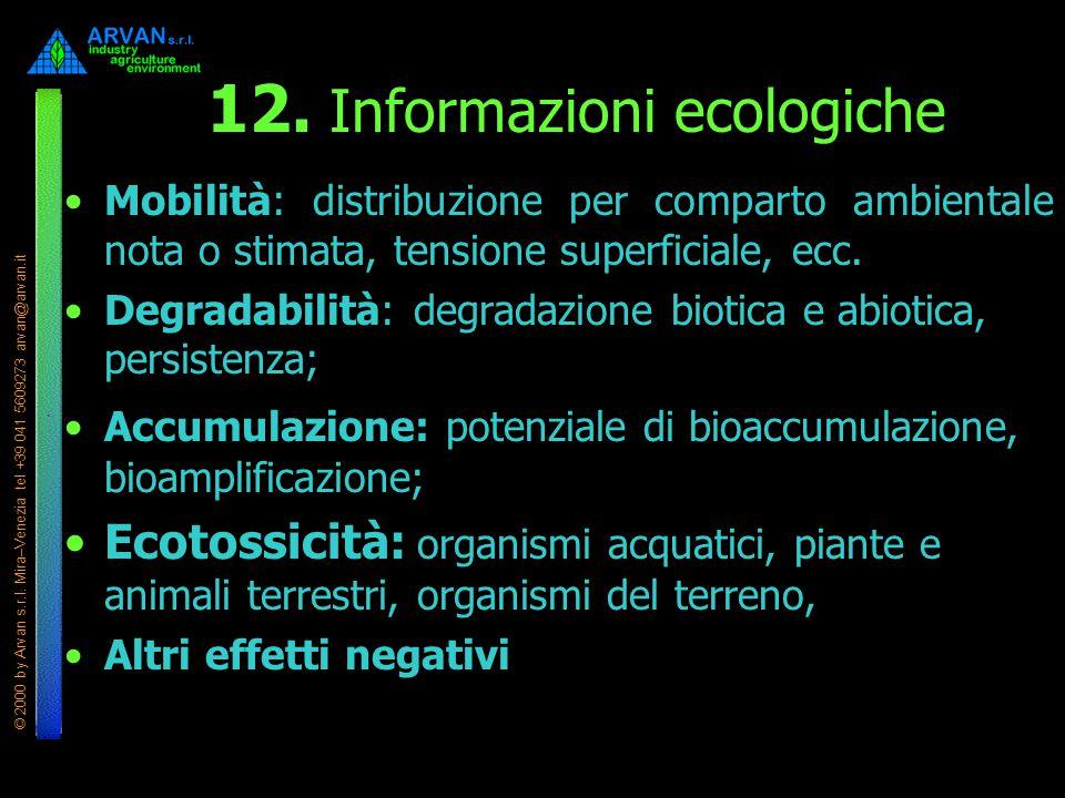 © 2000 by Arvan s.r.l. Mira–Venezia tel +39 041 5609273 arvan@arvan.it 12. Informazioni ecologiche Mobilità: distribuzione per comparto ambientale not