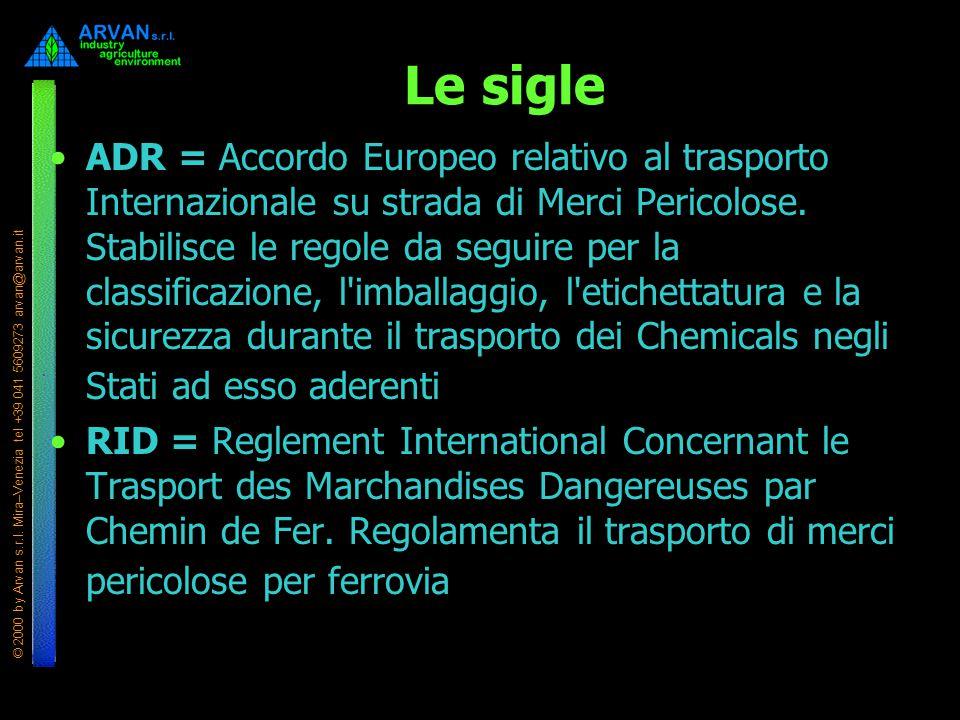 © 2000 by Arvan s.r.l. Mira–Venezia tel +39 041 5609273 arvan@arvan.it Le sigle ADR = Accordo Europeo relativo al trasporto Internazionale su strada d