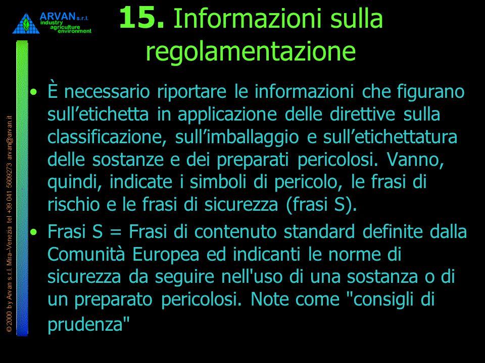 © 2000 by Arvan s.r.l. Mira–Venezia tel +39 041 5609273 arvan@arvan.it 15. Informazioni sulla regolamentazione È necessario riportare le informazioni