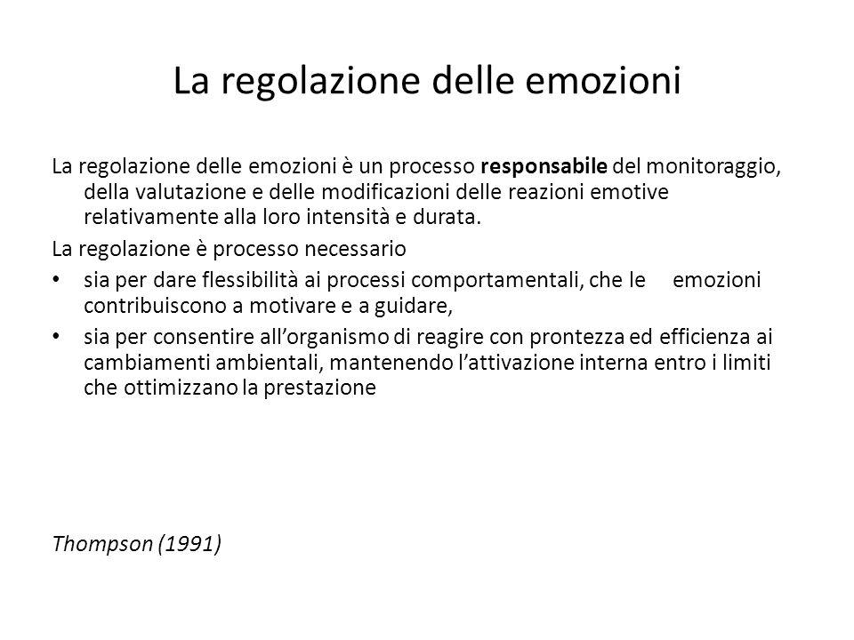 La regolazione delle emozioni La regolazione delle emozioni è un processo responsabile del monitoraggio, della valutazione e delle modificazioni delle reazioni emotive relativamente alla loro intensità e durata.