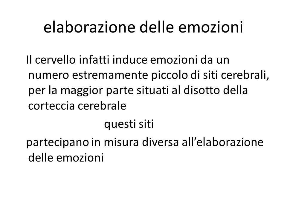 elaborazione delle emozioni Il cervello infatti induce emozioni da un numero estremamente piccolo di siti cerebrali, per la maggior parte situati al disotto della corteccia cerebrale questi siti partecipano in misura diversa all'elaborazione delle emozioni