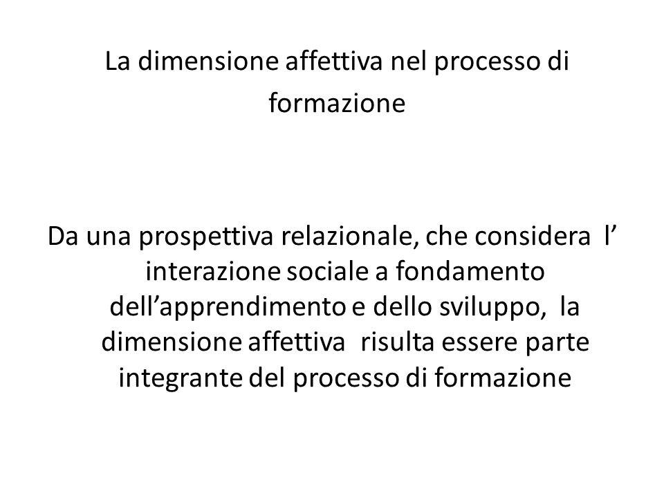 La dimensione affettiva nel processo di formazione Da una prospettiva relazionale, che considera l' interazione sociale a fondamento dell'apprendimento e dello sviluppo, la dimensione affettiva risulta essere parte integrante del processo di formazione