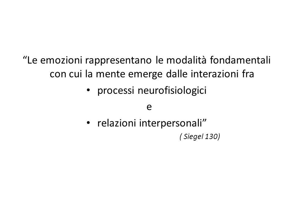 Le emozioni rappresentano le modalità fondamentali con cui la mente emerge dalle interazioni fra processi neurofisiologici e relazioni interpersonali ( Siegel 130)