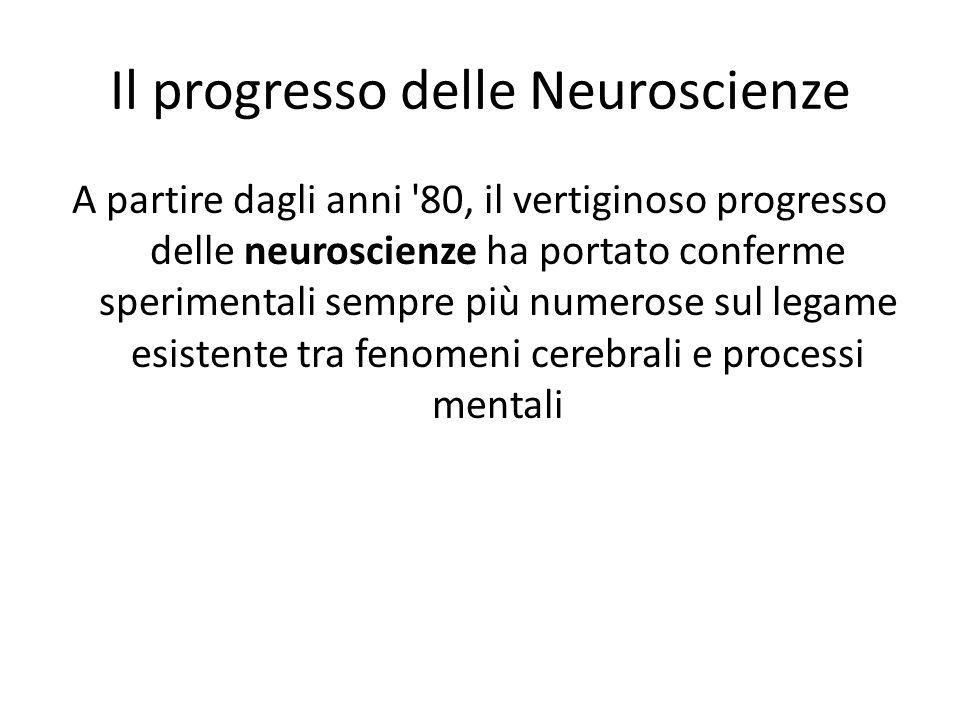 Il progresso delle Neuroscienze A partire dagli anni 80, il vertiginoso progresso delle neuroscienze ha portato conferme sperimentali sempre più numerose sul legame esistente tra fenomeni cerebrali e processi mentali