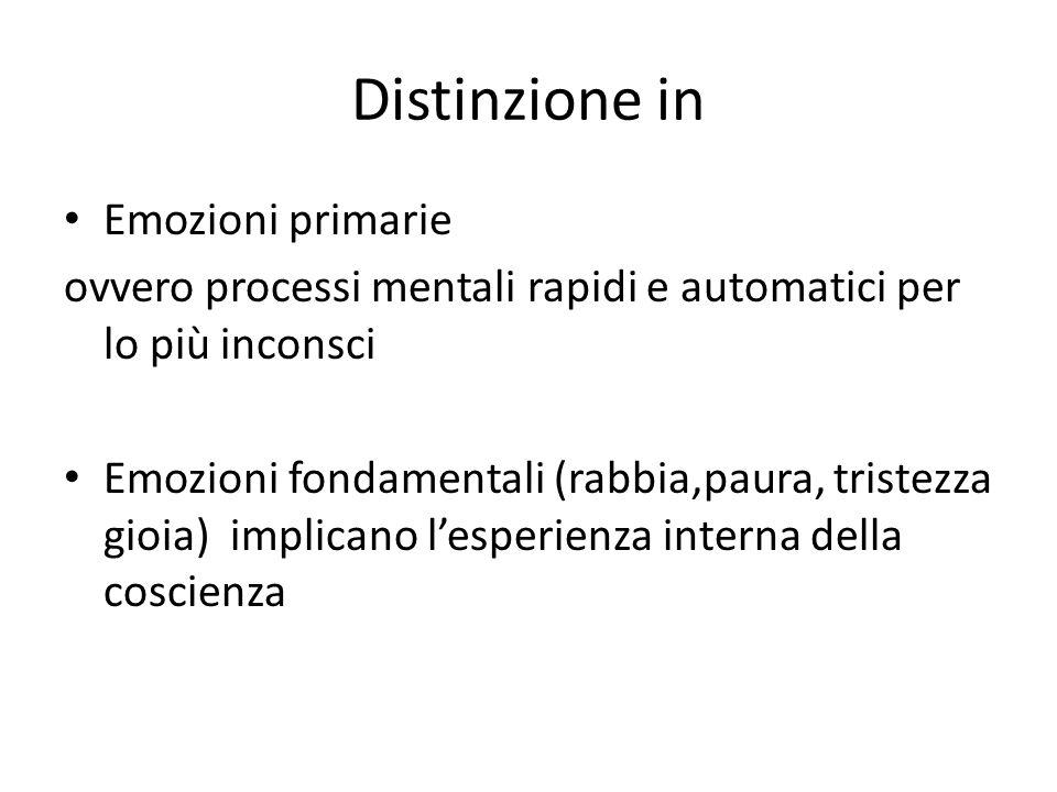 Distinzione in Emozioni primarie ovvero processi mentali rapidi e automatici per lo più inconsci Emozioni fondamentali (rabbia,paura, tristezza gioia) implicano l'esperienza interna della coscienza
