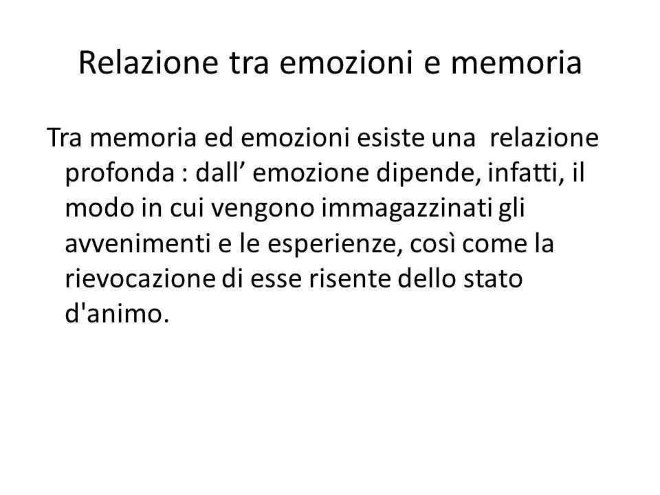 Relazione tra emozioni e memoria Tra memoria ed emozioni esiste una relazione profonda : dall' emozione dipende, infatti, il modo in cui vengono immagazzinati gli avvenimenti e le esperienze, così come la rievocazione di esse risente dello stato d animo.