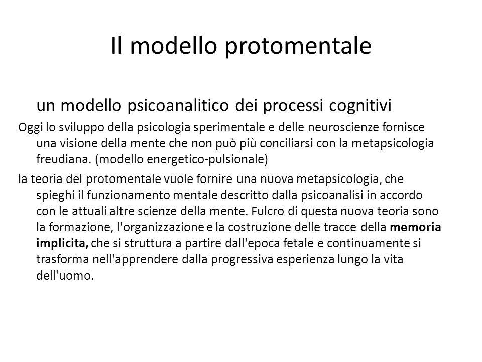Il modello protomentale un modello psicoanalitico dei processi cognitivi Oggi lo sviluppo della psicologia sperimentale e delle neuroscienze fornisce una visione della mente che non può più conciliarsi con la metapsicologia freudiana.