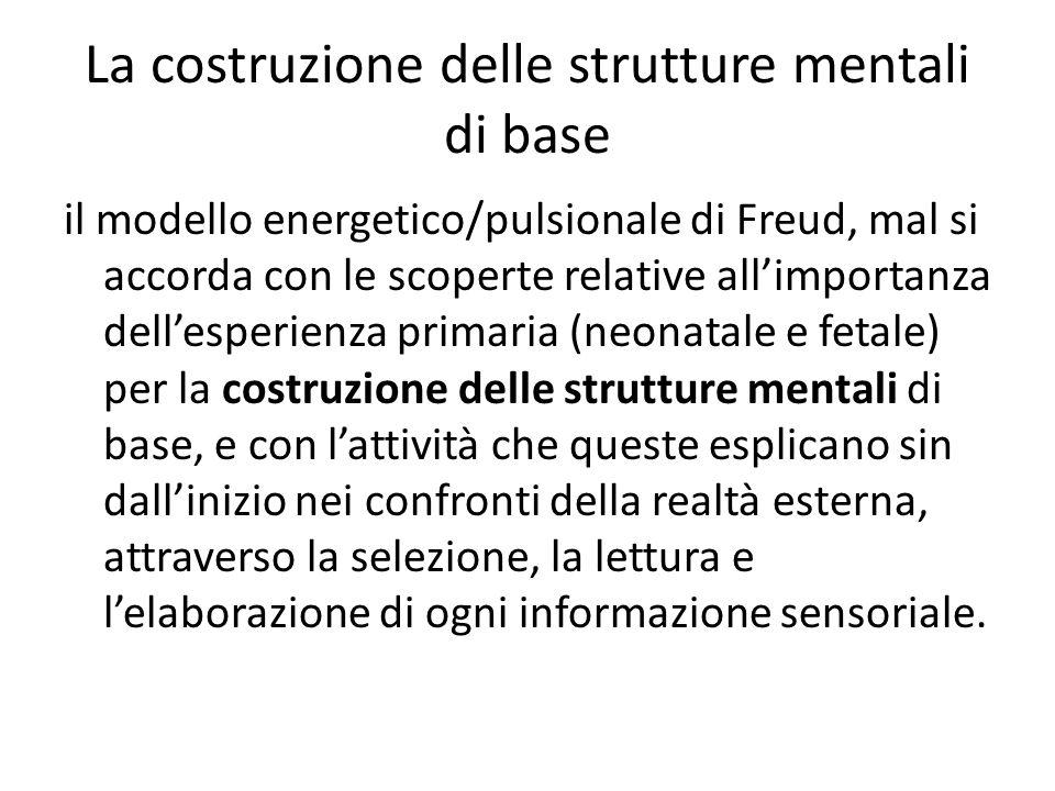La costruzione delle strutture mentali di base il modello energetico/pulsionale di Freud, mal si accorda con le scoperte relative all'importanza dell'esperienza primaria (neonatale e fetale) per la costruzione delle strutture mentali di base, e con l'attività che queste esplicano sin dall'inizio nei confronti della realtà esterna, attraverso la selezione, la lettura e l'elaborazione di ogni informazione sensoriale.