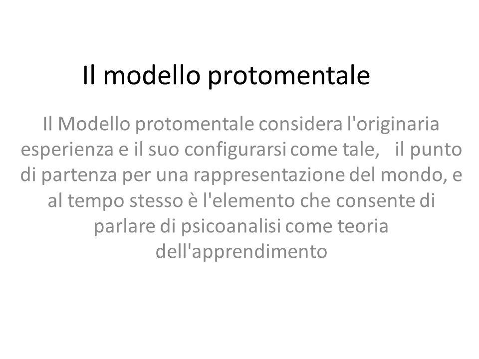 Il modello protomentale Il Modello protomentale considera l originaria esperienza e il suo configurarsi come tale, il punto di partenza per una rappresentazione del mondo, e al tempo stesso è l elemento che consente di parlare di psicoanalisi come teoria dell apprendimento