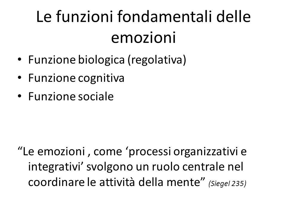 Le funzioni fondamentali delle emozioni Funzione biologica (regolativa) Funzione cognitiva Funzione sociale Le emozioni, come 'processi organizzativi e integrativi' svolgono un ruolo centrale nel coordinare le attività della mente (Siegel 235)