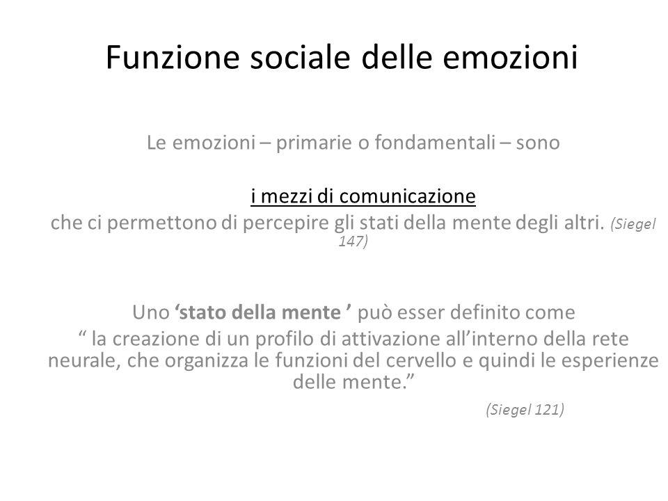 Funzione sociale delle emozioni Le emozioni – primarie o fondamentali – sono i mezzi di comunicazione che ci permettono di percepire gli stati della mente degli altri.