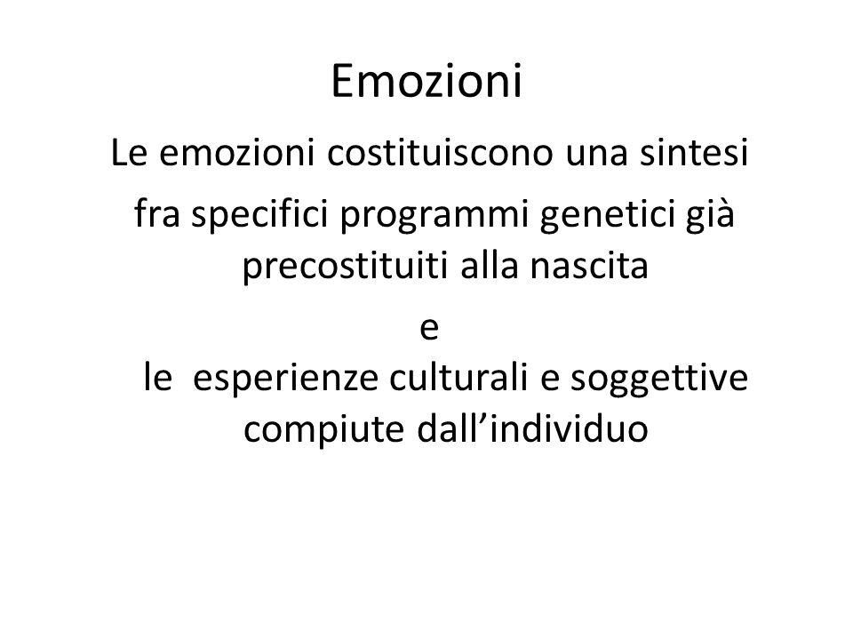Emozioni Le emozioni costituiscono una sintesi fra specifici programmi genetici già precostituiti alla nascita e le esperienze culturali e soggettive compiute dall'individuo