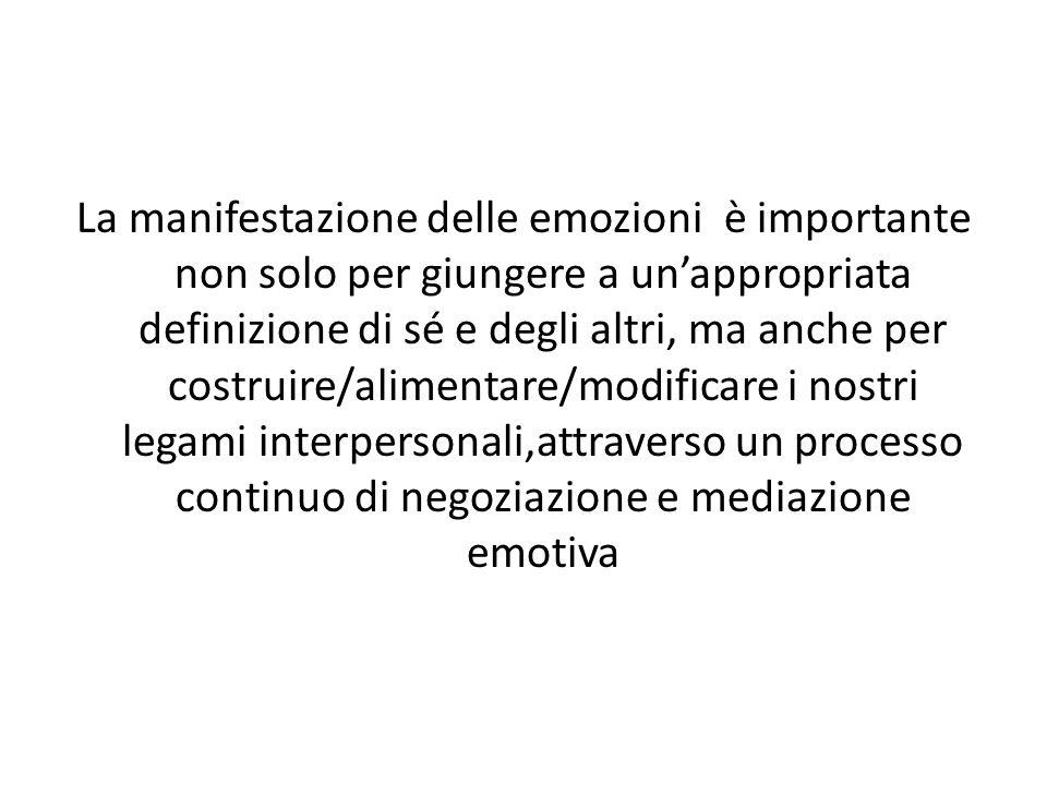 La manifestazione delle emozioni è importante non solo per giungere a un'appropriata definizione di sé e degli altri, ma anche per costruire/alimentare/modificare i nostri legami interpersonali,attraverso un processo continuo di negoziazione e mediazione emotiva
