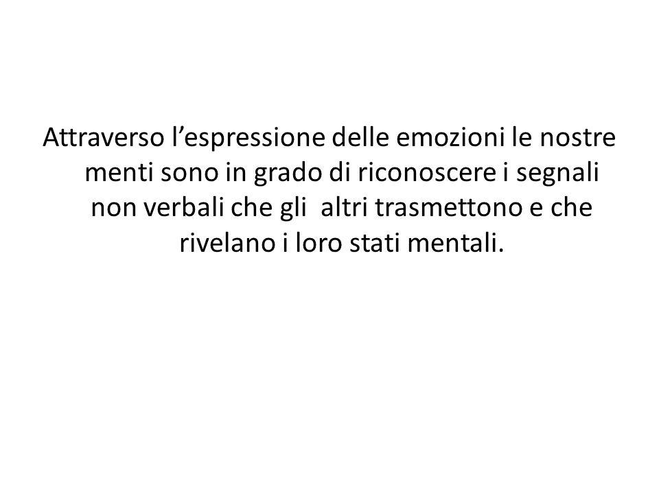 Attraverso l'espressione delle emozioni le nostre menti sono in grado di riconoscere i segnali non verbali che gli altri trasmettono e che rivelano i loro stati mentali.