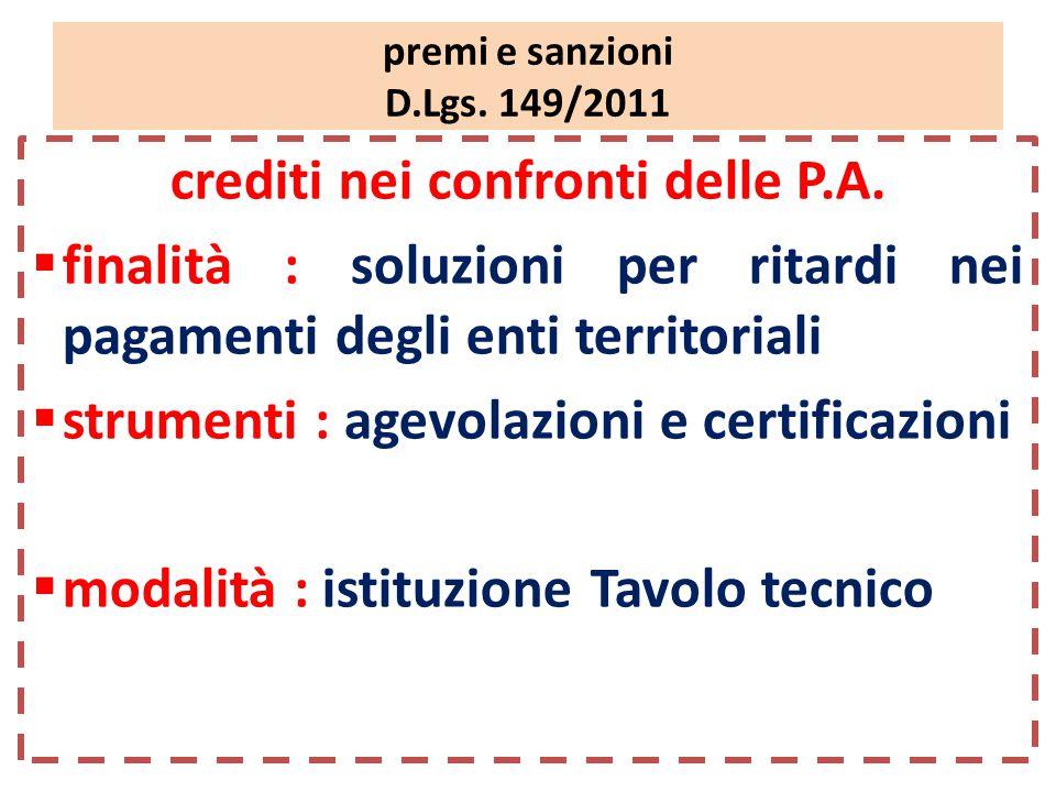 premi e sanzioni D.Lgs. 149/2011 crediti nei confronti delle P.A.