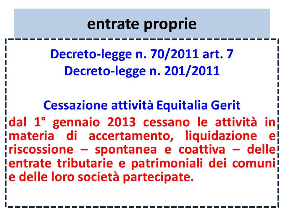 entrate proprie Decreto-legge n. 70/2011 art. 7 Decreto-legge n.