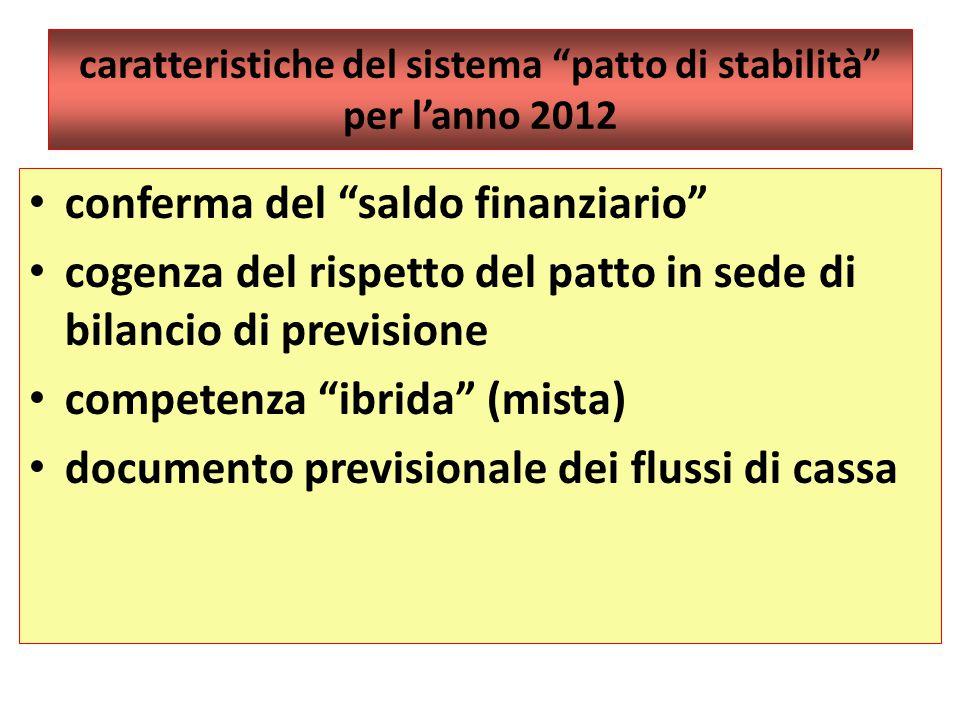 caratteristiche del sistema patto di stabilità per l'anno 2012 conferma del saldo finanziario cogenza del rispetto del patto in sede di bilancio di previsione competenza ibrida (mista) documento previsionale dei flussi di cassa