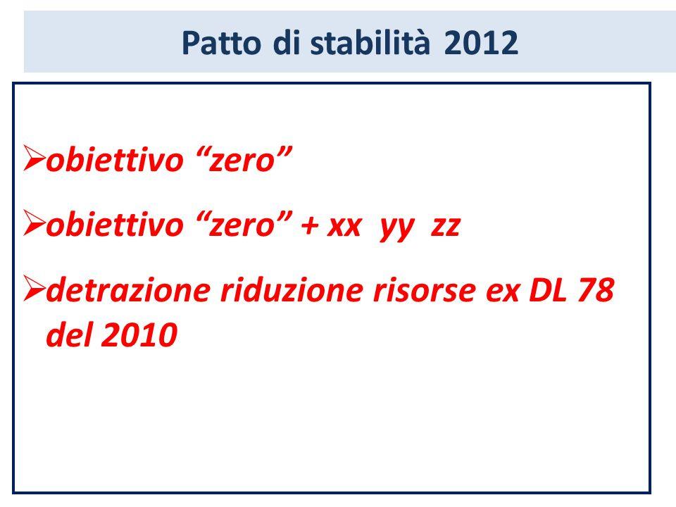 Patto di stabilità 2012  obiettivo zero  obiettivo zero + xx yy zz  detrazione riduzione risorse ex DL 78 del 2010