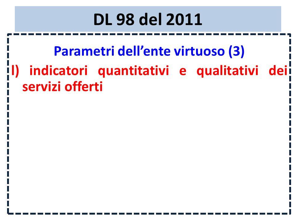 DL 98 del 2011 Parametri dell'ente virtuoso (3) l) indicatori quantitativi e qualitativi dei servizi offerti