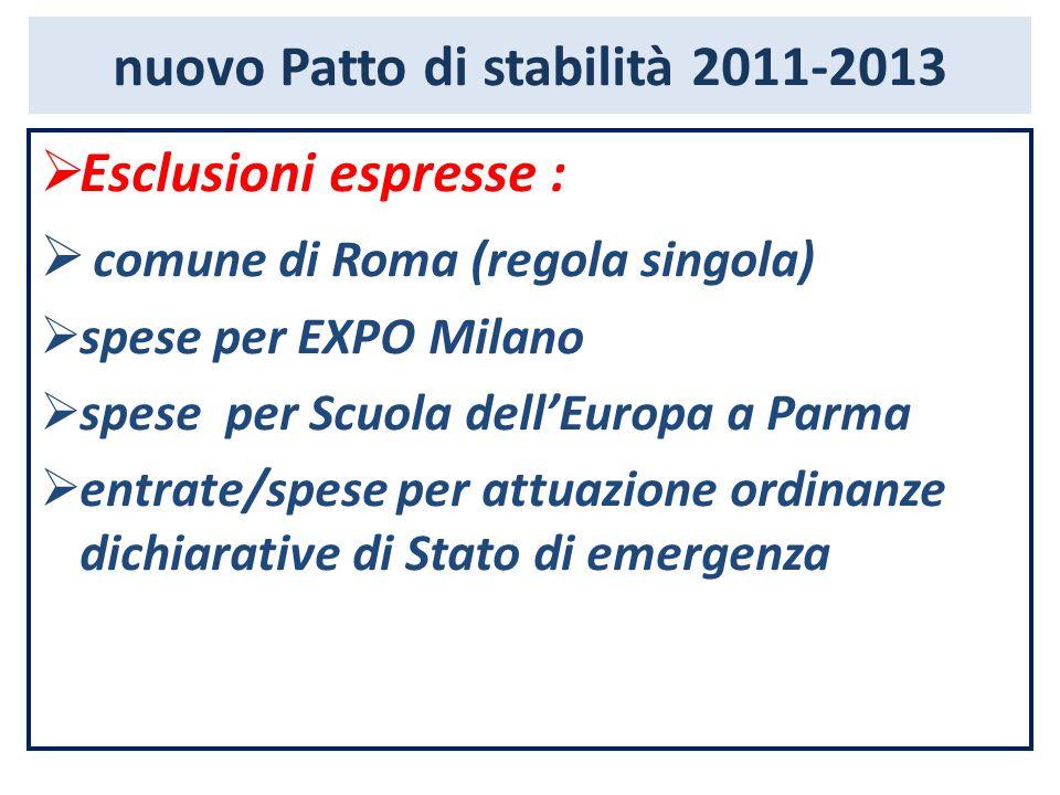 nuovo Patto di stabilità 2011-2013  Esclusioni espresse :  comune di Roma (regola singola)  spese per EXPO Milano  spese per Scuola dell'Europa a Parma  entrate/spese per attuazione ordinanze dichiarative di Stato di emergenza