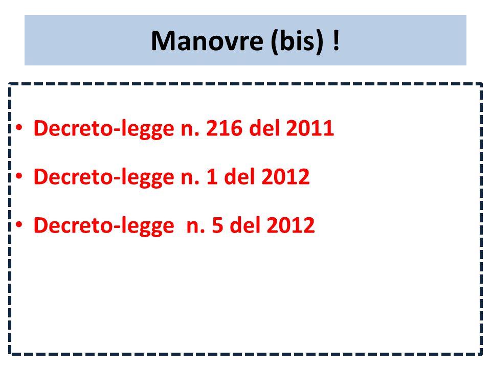 Manovre (bis) . Decreto-legge n. 216 del 2011 Decreto-legge n.
