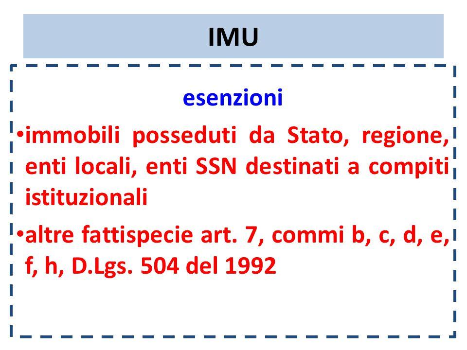 IMU esenzioni immobili posseduti da Stato, regione, enti locali, enti SSN destinati a compiti istituzionali altre fattispecie art.
