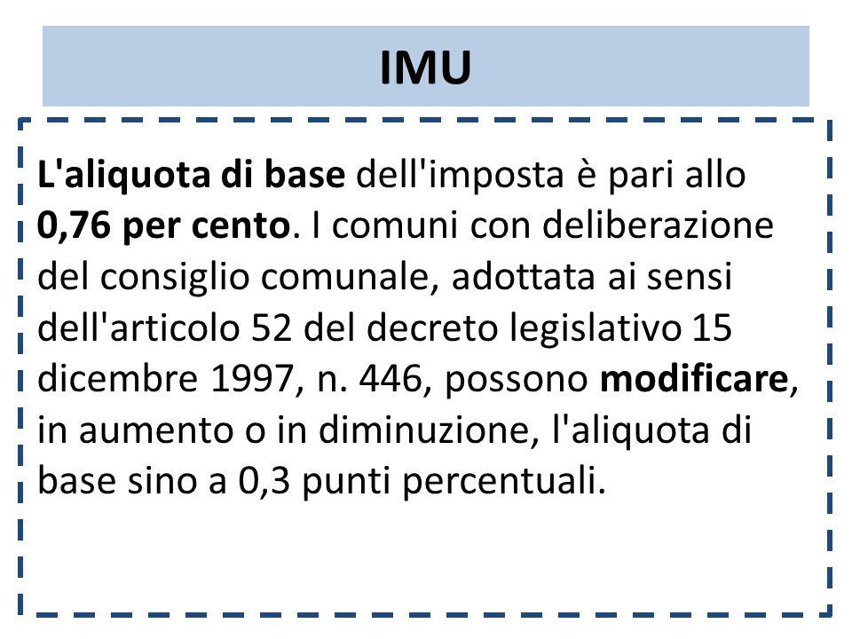 IMU L aliquota di base dell imposta è pari allo 0,76 per cento.