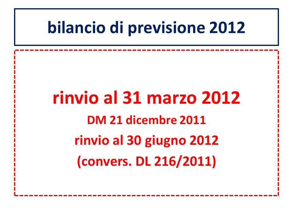 bilancio di previsione 2012 rinvio al 31 marzo 2012 DM 21 dicembre 2011 rinvio al 30 giugno 2012 (convers.