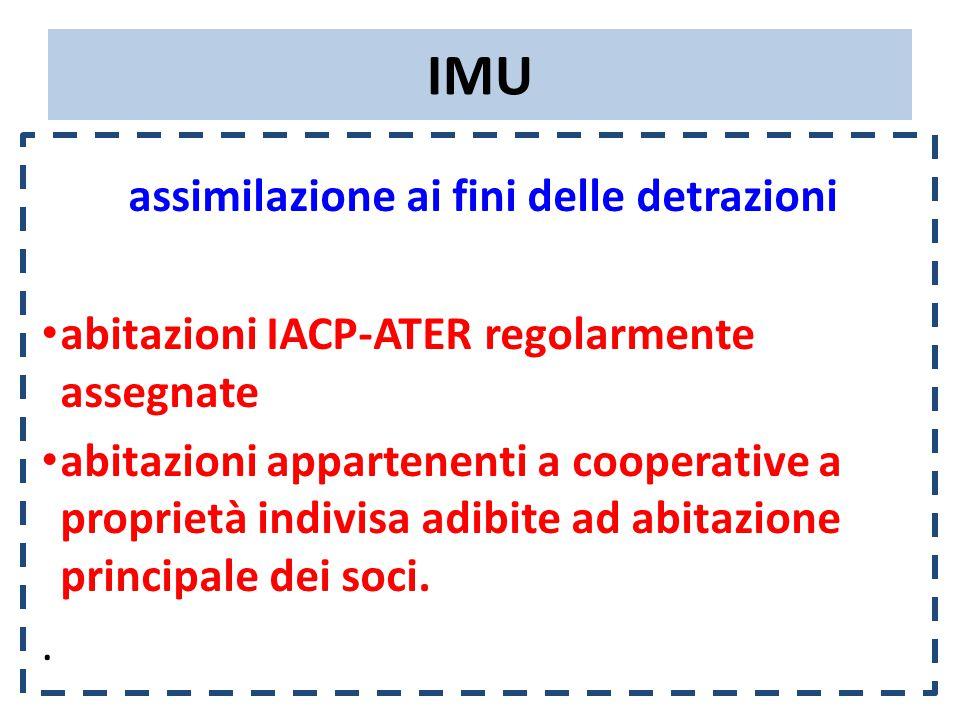 IMU assimilazione ai fini delle detrazioni abitazioni IACP-ATER regolarmente assegnate abitazioni appartenenti a cooperative a proprietà indivisa adibite ad abitazione principale dei soci..