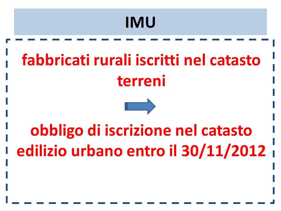 IMU fabbricati rurali iscritti nel catasto terreni obbligo di iscrizione nel catasto edilizio urbano entro il 30/11/2012