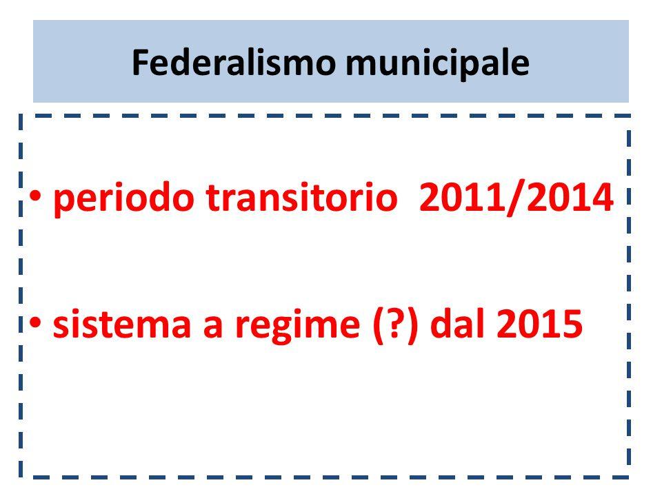 Federalismo municipale periodo transitorio 2011/2014 sistema a regime ( ) dal 2015