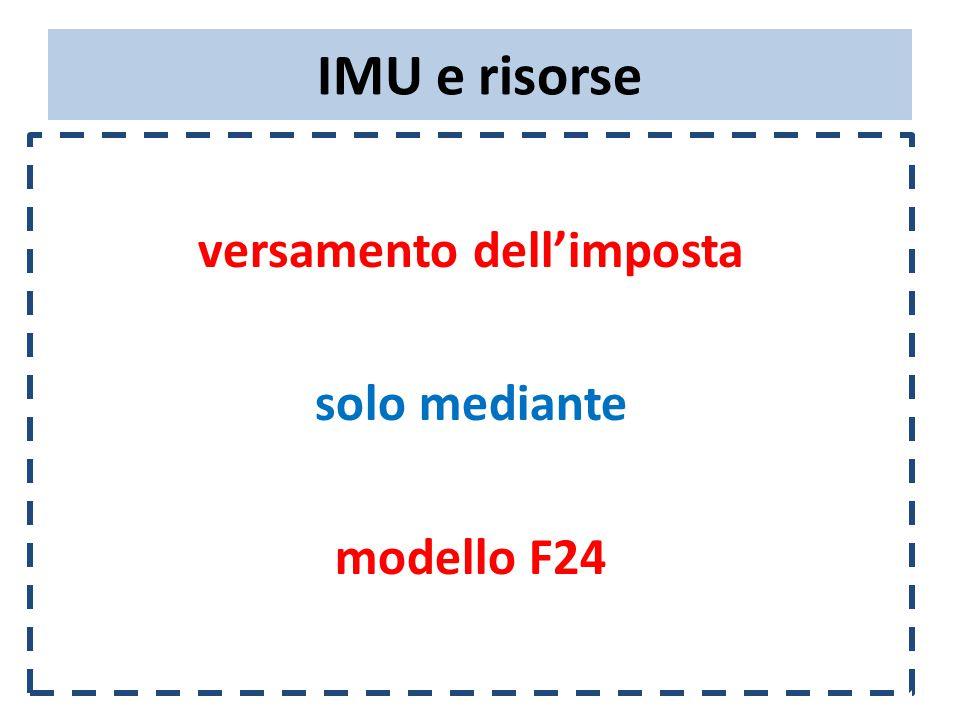 IMU e risorse versamento dell'imposta solo mediante modello F24
