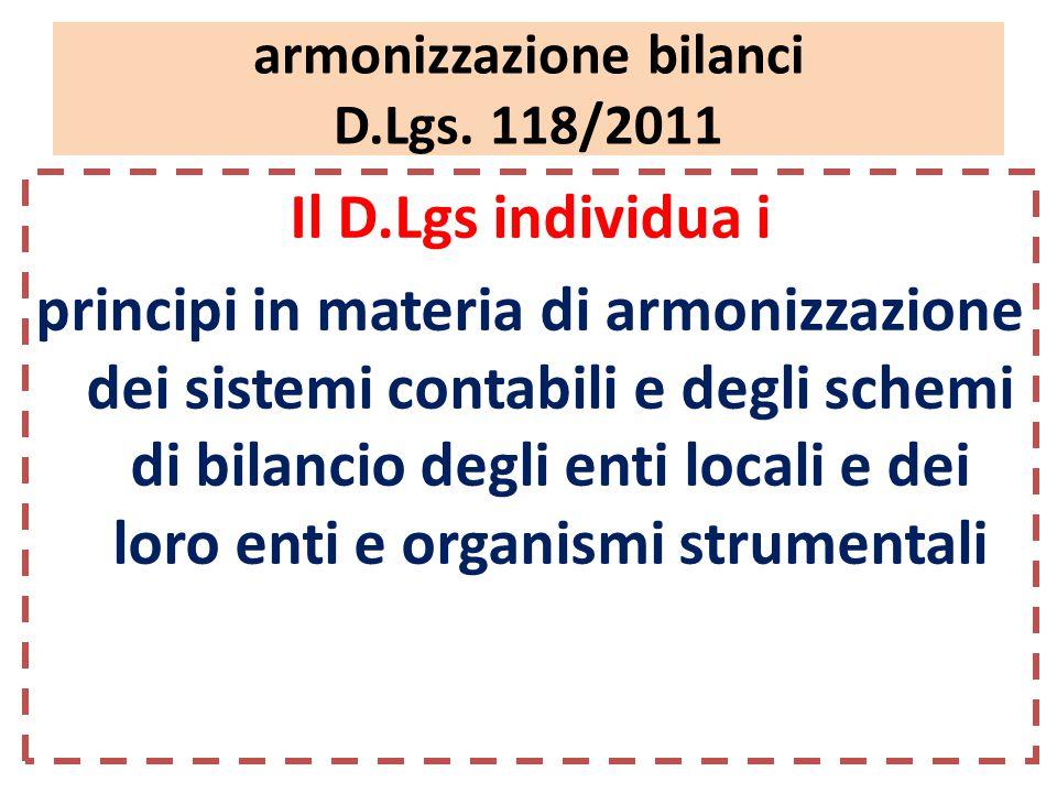 armonizzazione bilanci D.Lgs.