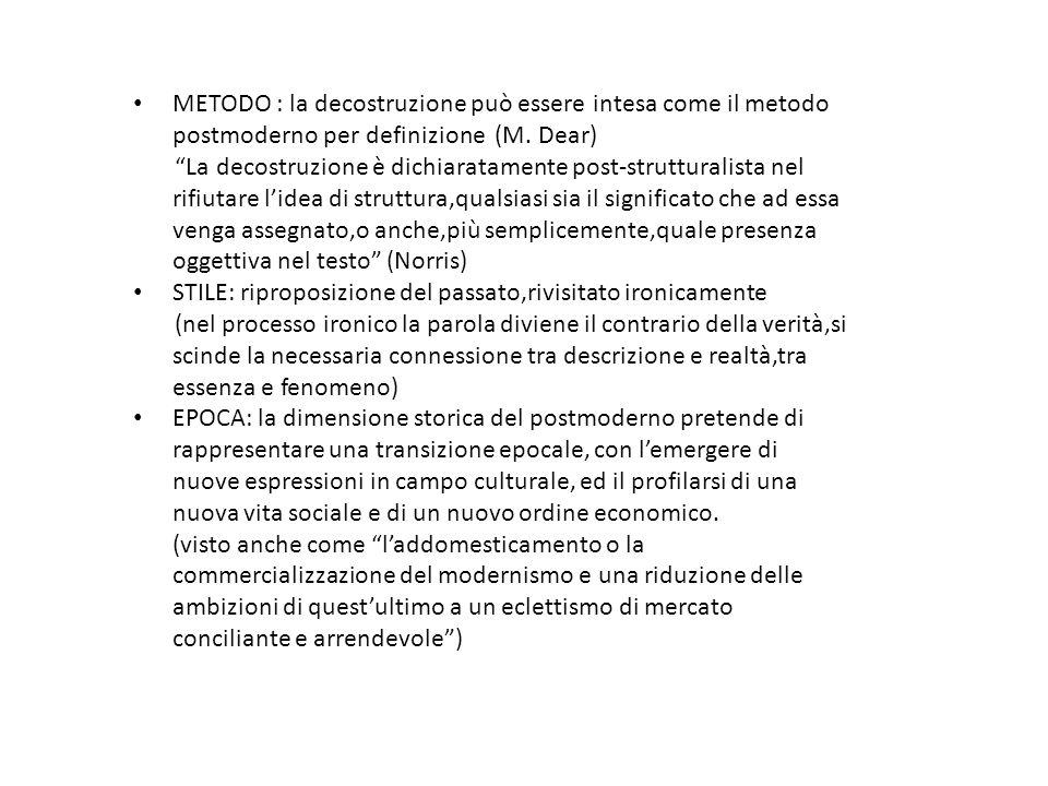"""METODO : la decostruzione può essere intesa come il metodo postmoderno per definizione (M. Dear) """"La decostruzione è dichiaratamente post-strutturalis"""